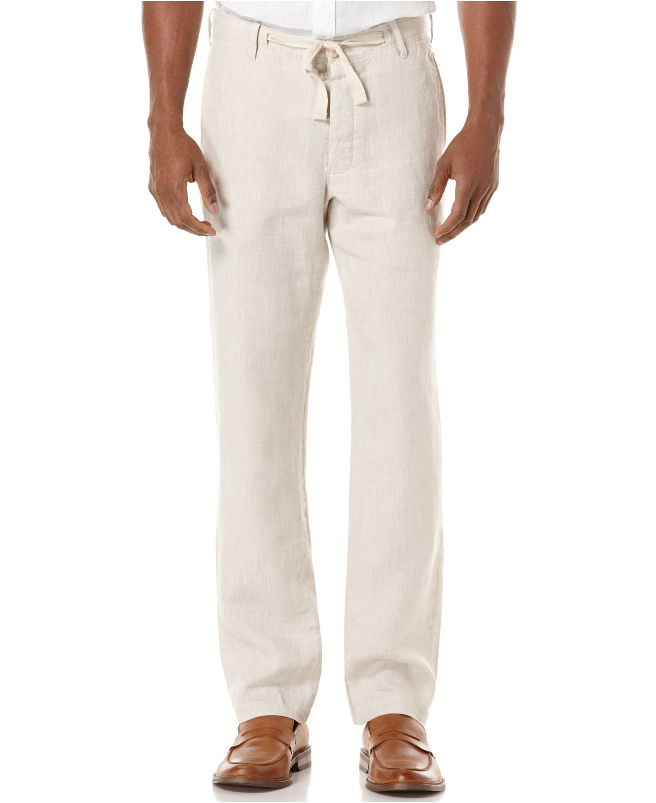 Perry ellis Big And Tall Drawstring Linen Pants in Natural for Men ...