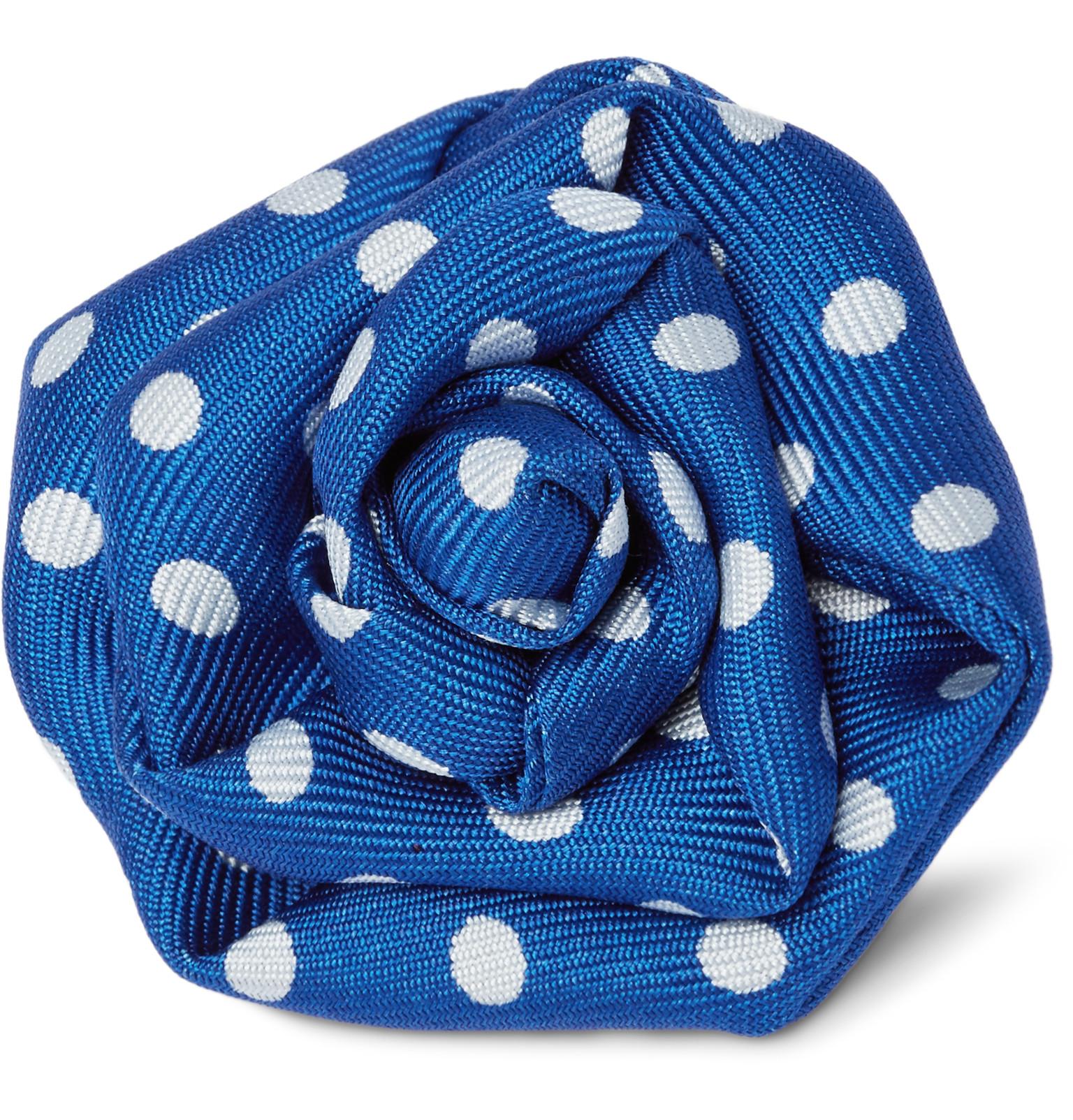 Charvet Polka Dot Silk Faille Flower Lapel Pin In Blue For Men Lyst