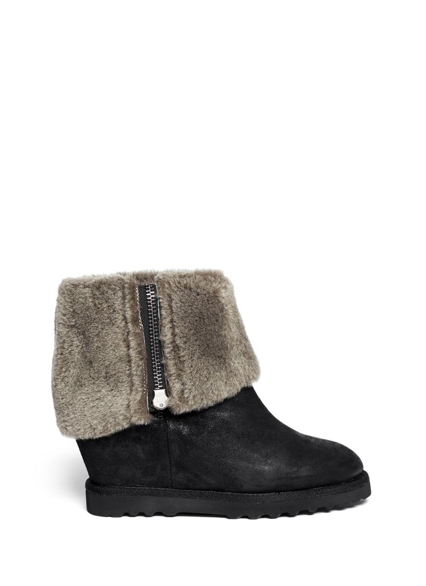 ash yorki shearling wedge boots in black lyst