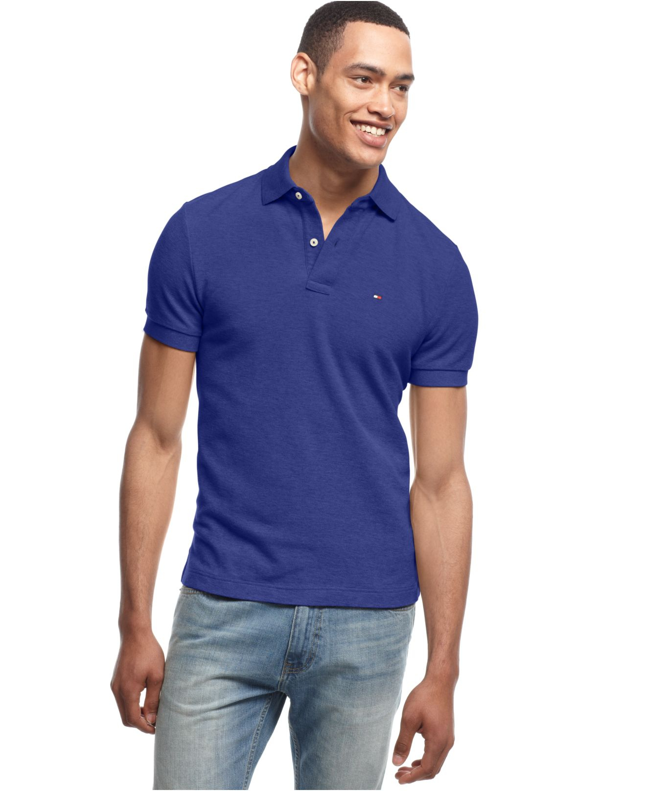 Tommy hilfiger men 39 s big and tall solid ivy polo in blue for Big and tall custom polo shirts