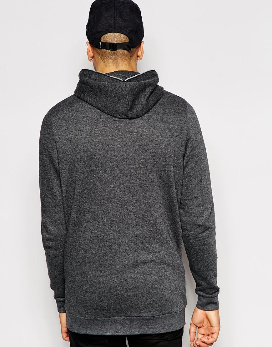 Asos Longline Zip Up Hoodie With Zip Hood in Gray for Men | Lyst