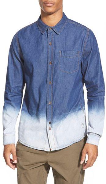 Bellfield dip dye denim shirt in blue for men indigo for Mens dip dye shirt