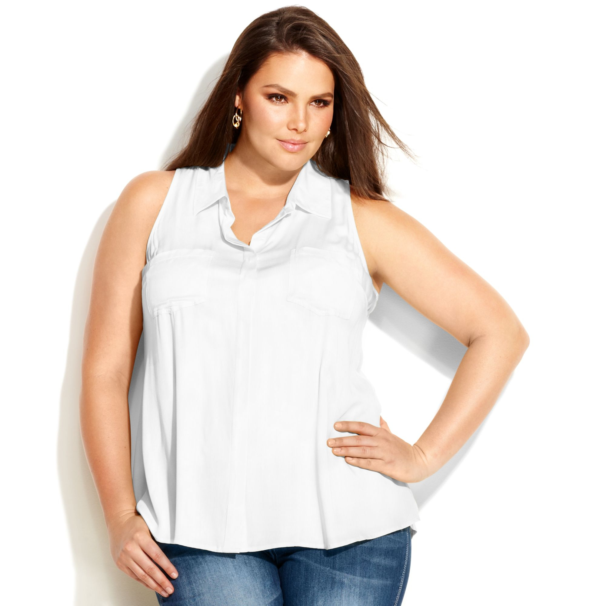 20df1469bd2 Lyst - INC International Concepts Plus Size Sleeveless Blouse in White