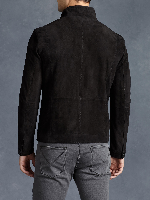 John varvatos Suede Bomber Jacket in Black for Men | Lyst