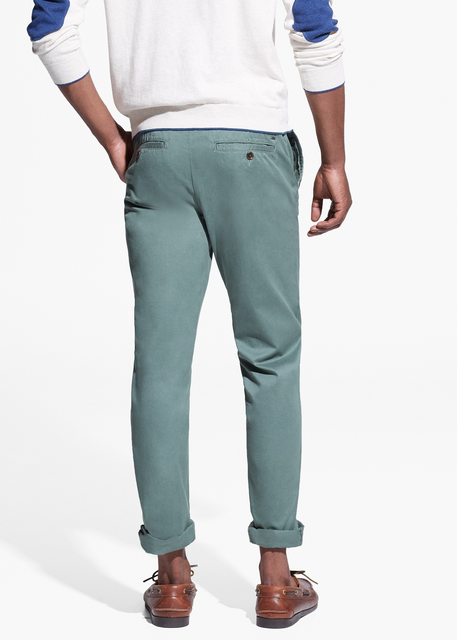 78378b8e6c487 Lyst - Mango Straight-Fit Cotton Chinos in Green for Men