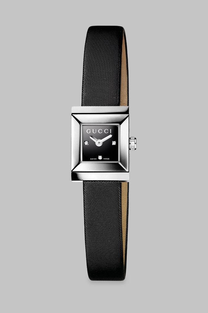 Gucci G frame Diamond & Satin Strap Watch in Black