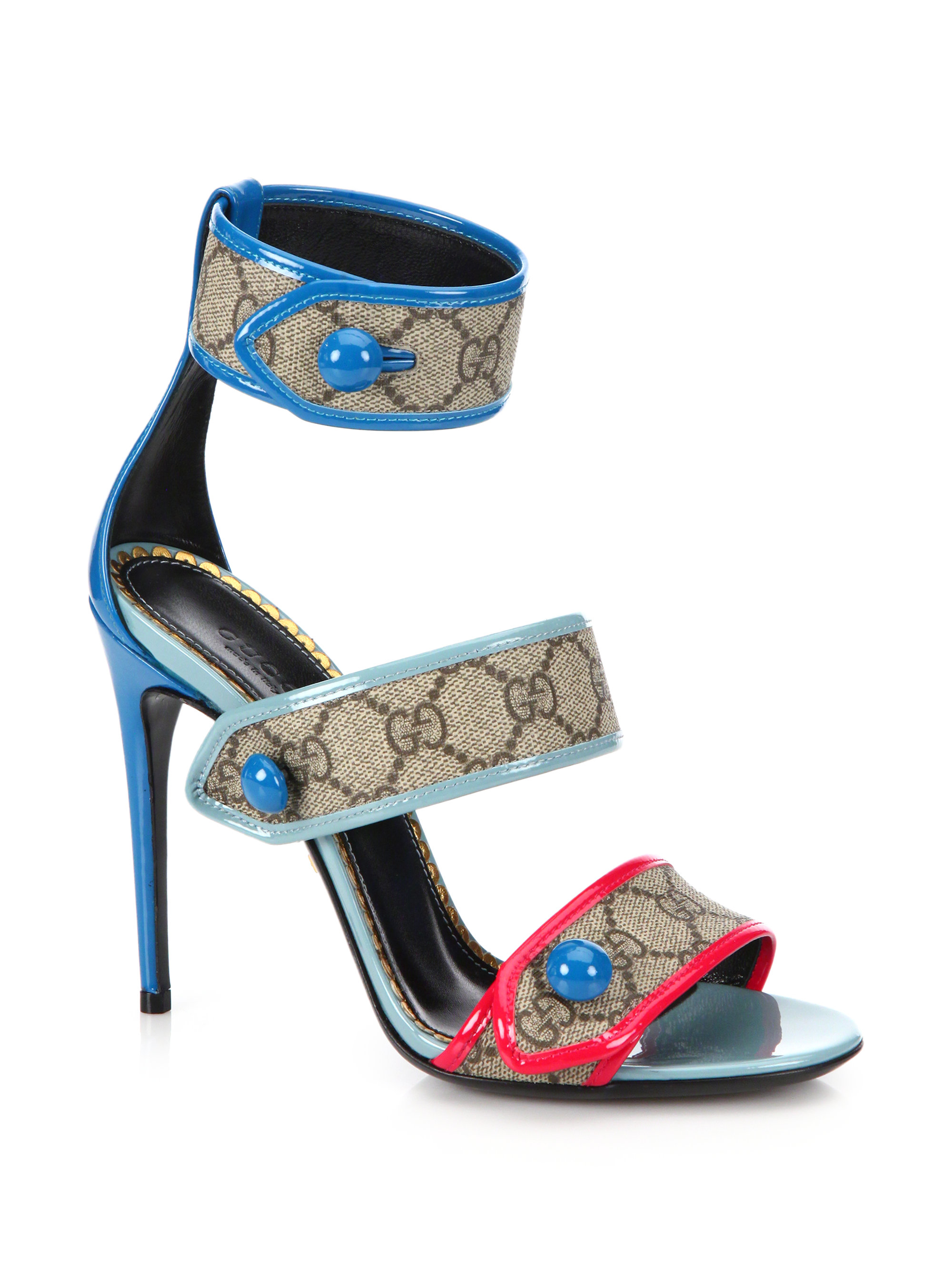 024e5363880 Lyst - Gucci Harleth GG Patent-Leather Sandals