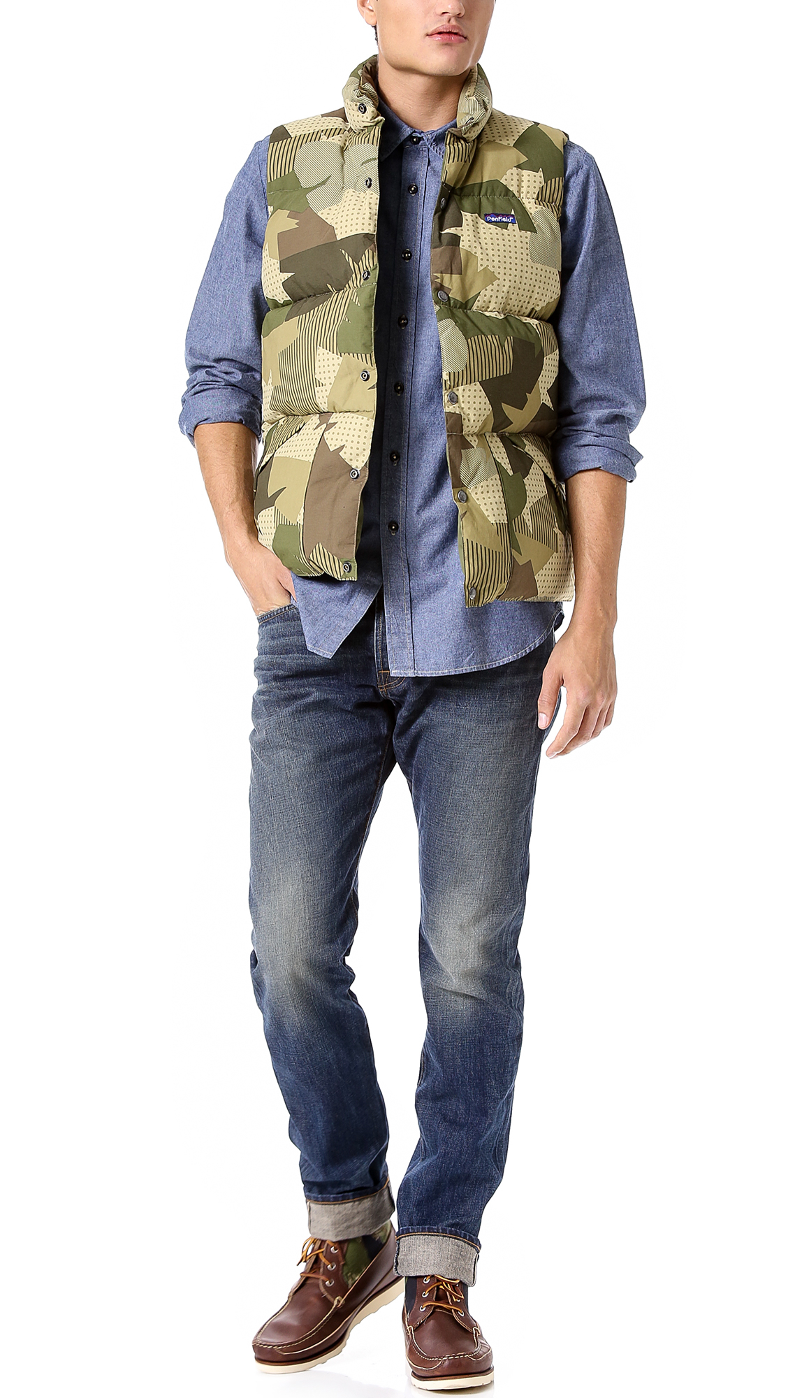 Coast wide bandana print chambray shirt in blue for men for Chambray 7 s