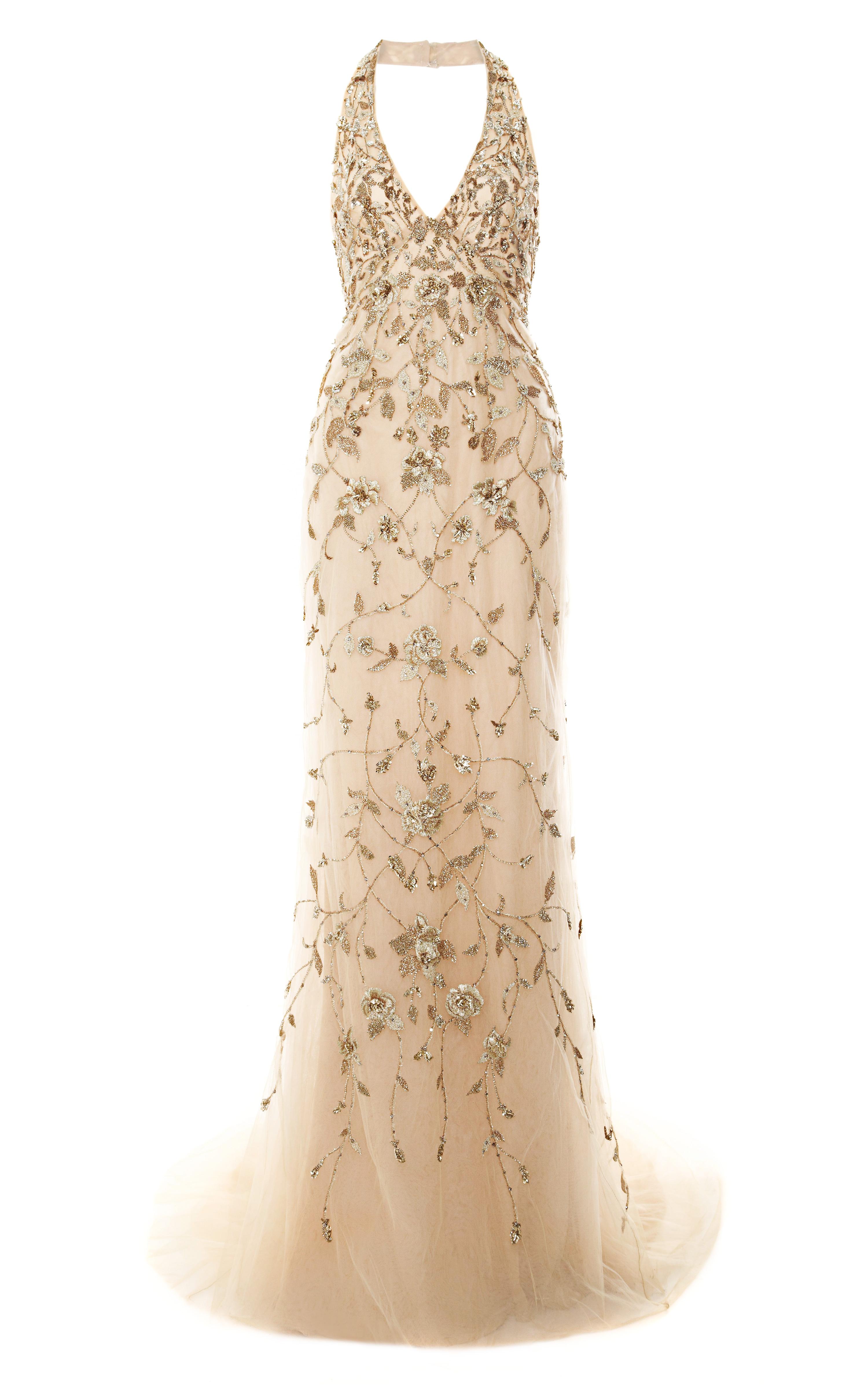 Marchesa Embroidered Floral Halter Neck Gown In Metallic