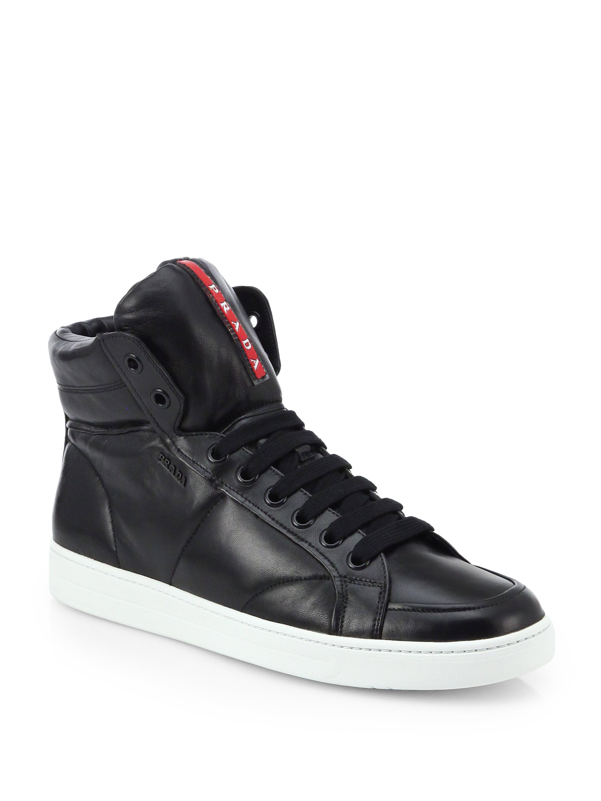 lyst prada leather high top sneakers in black for men. Black Bedroom Furniture Sets. Home Design Ideas