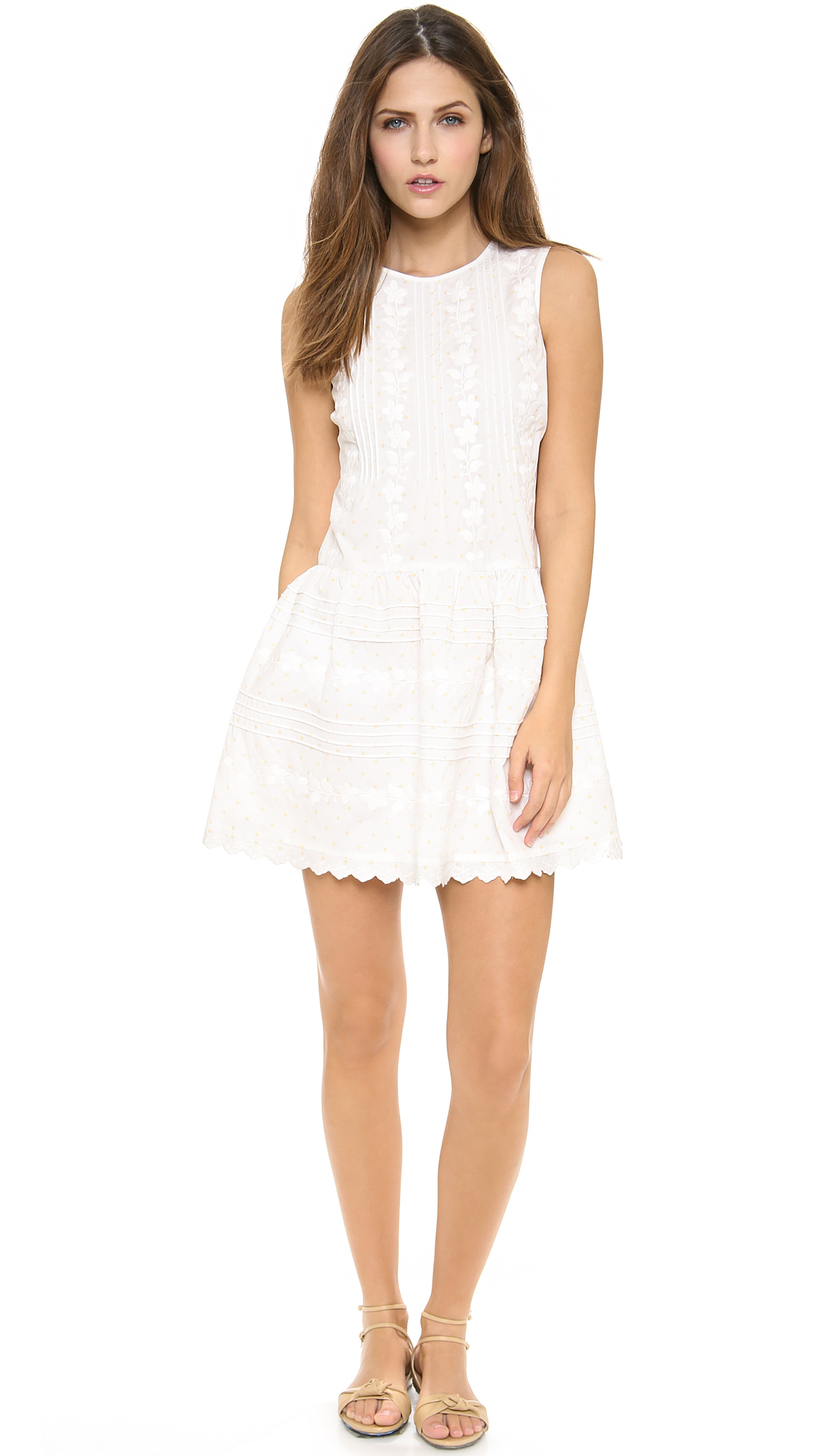Red valentino flower embroidered dress in white lyst