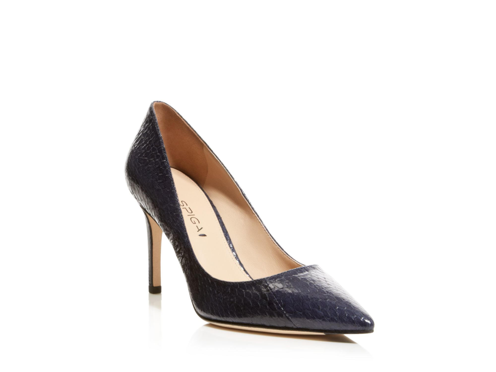 Via Spiga Pointed Toe Pumps Carola Snakeskin High Heel