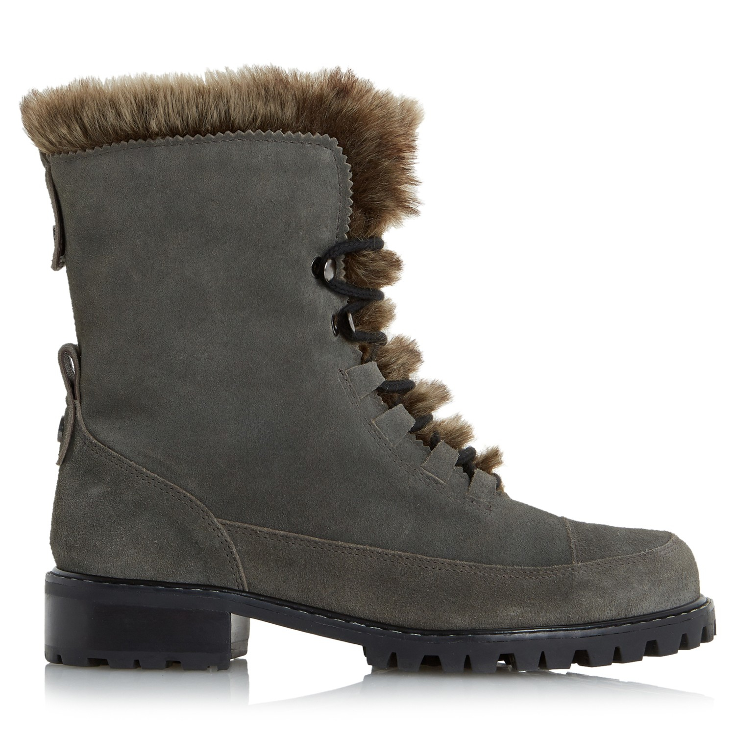 dune raleigh faux fur lined suede boots in gray grey