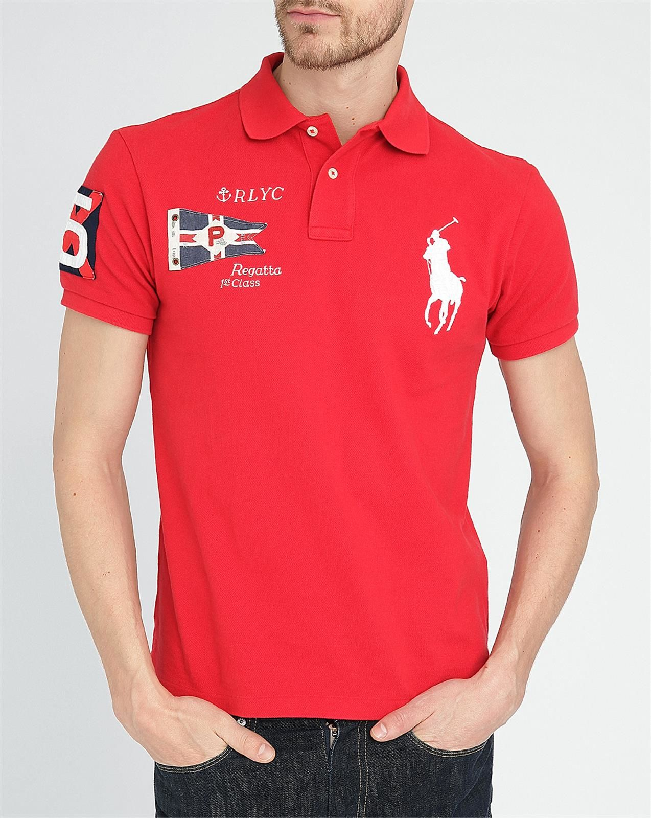 Ralph Lauren Men Navy Big Pony Polo Red