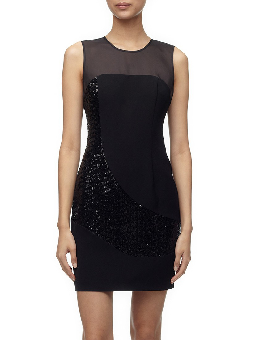 f75a8271 Whistles Sequin Panel Dress in Black - Lyst