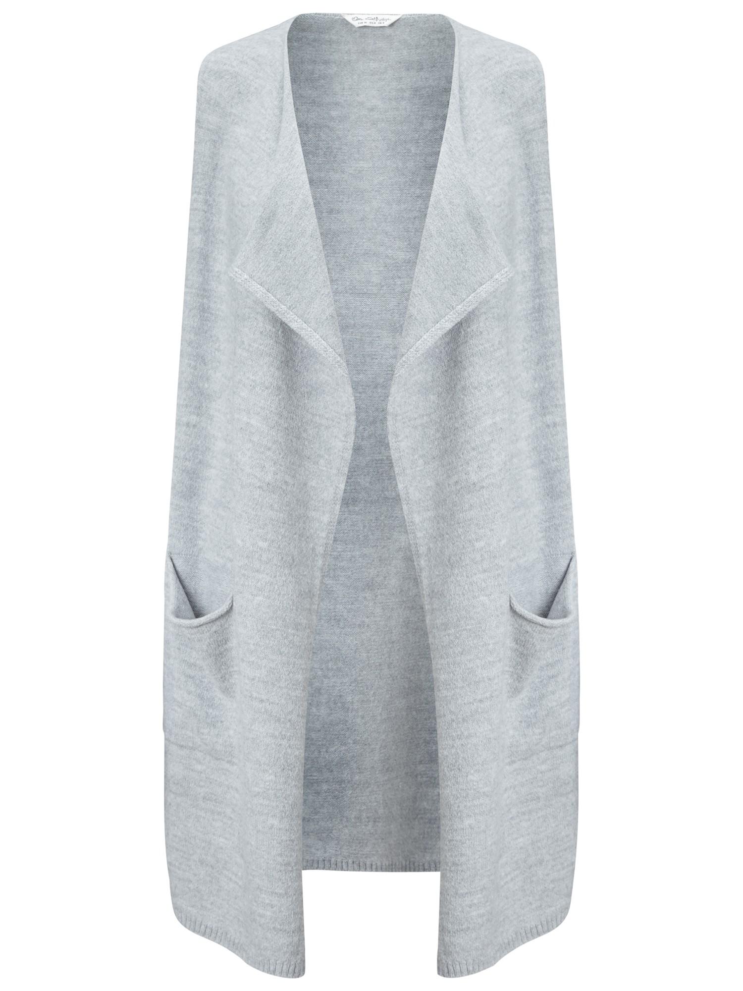 Magaschoni Light Grey Long Sleeve Cashmere Waterfall Cardigan