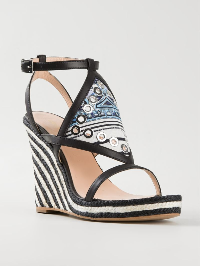emilio pucci striped wedge sandals in black lyst