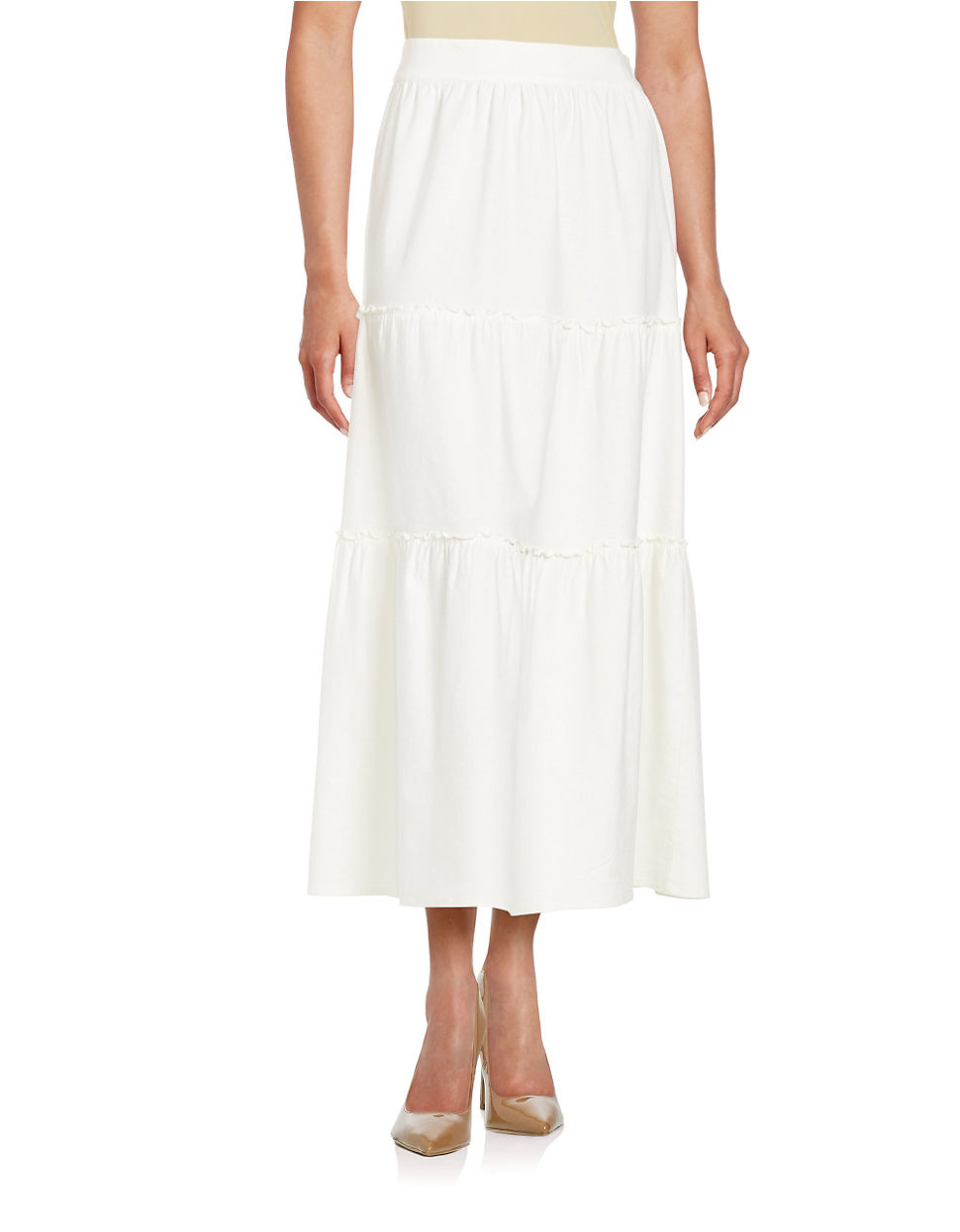 isaac mizrahi new york tiered maxi skirt in white lyst