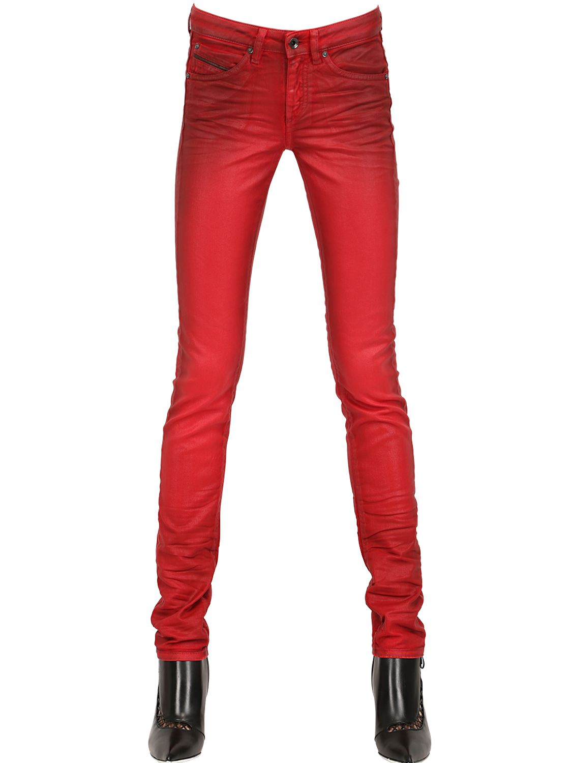 Diesel Black Gold Painted Stretch Shiny Denim Jeans In Red