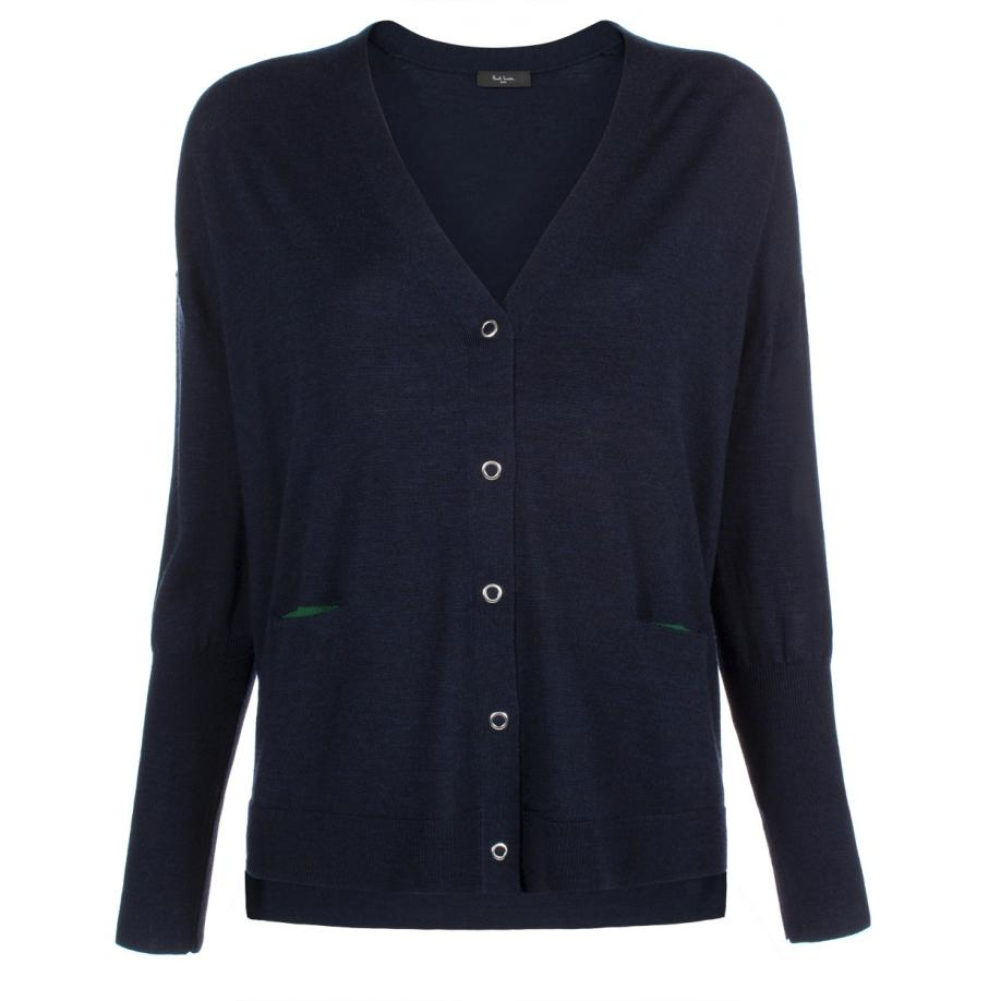Paul smith Women's Navy Oversized Merino Wool Cardigan in Black | Lyst