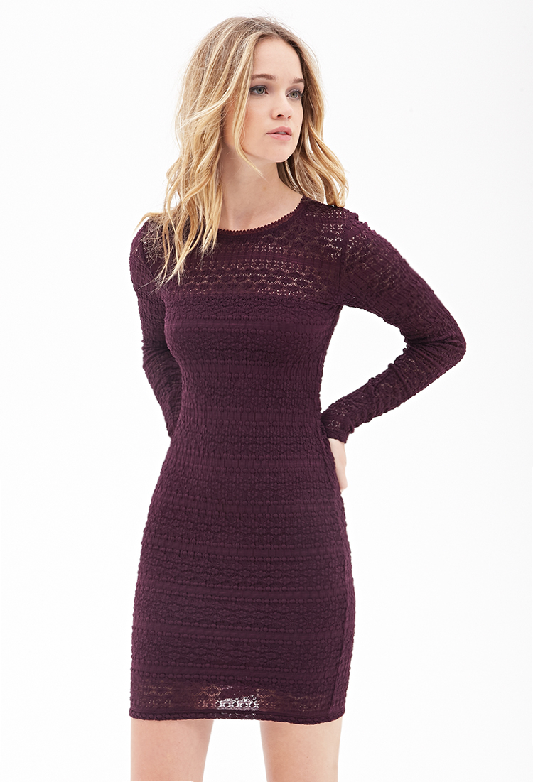 Forever 21 Textured Knit Dress in Purple (Eggplant)