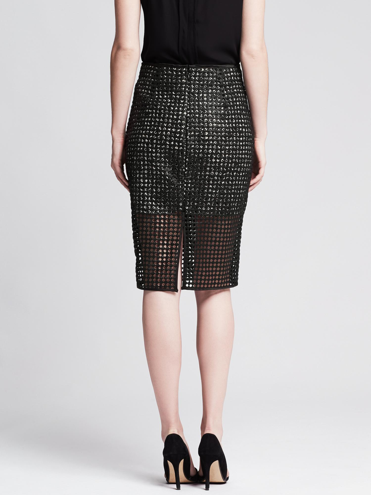 banana republic coated lace pencil skirt in black br