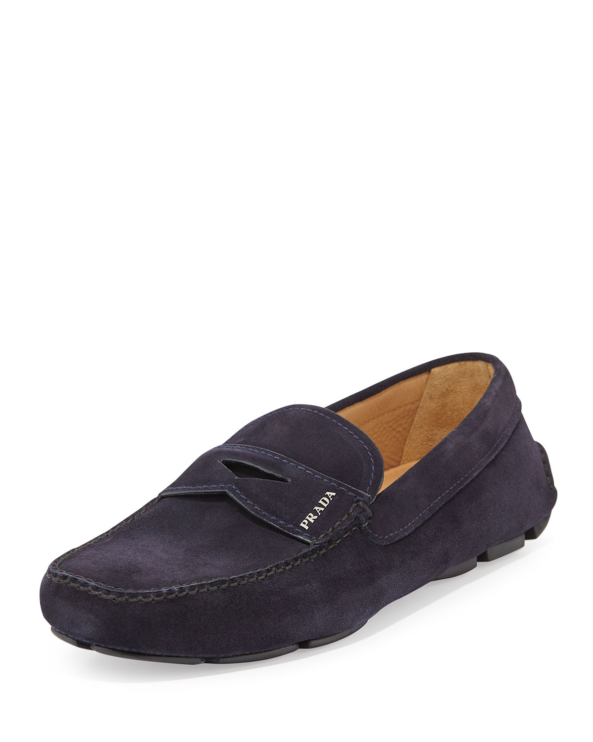ddc56ad2c29 ... best lyst prada suede penny driver shoe in blue for men 52d27 f8881