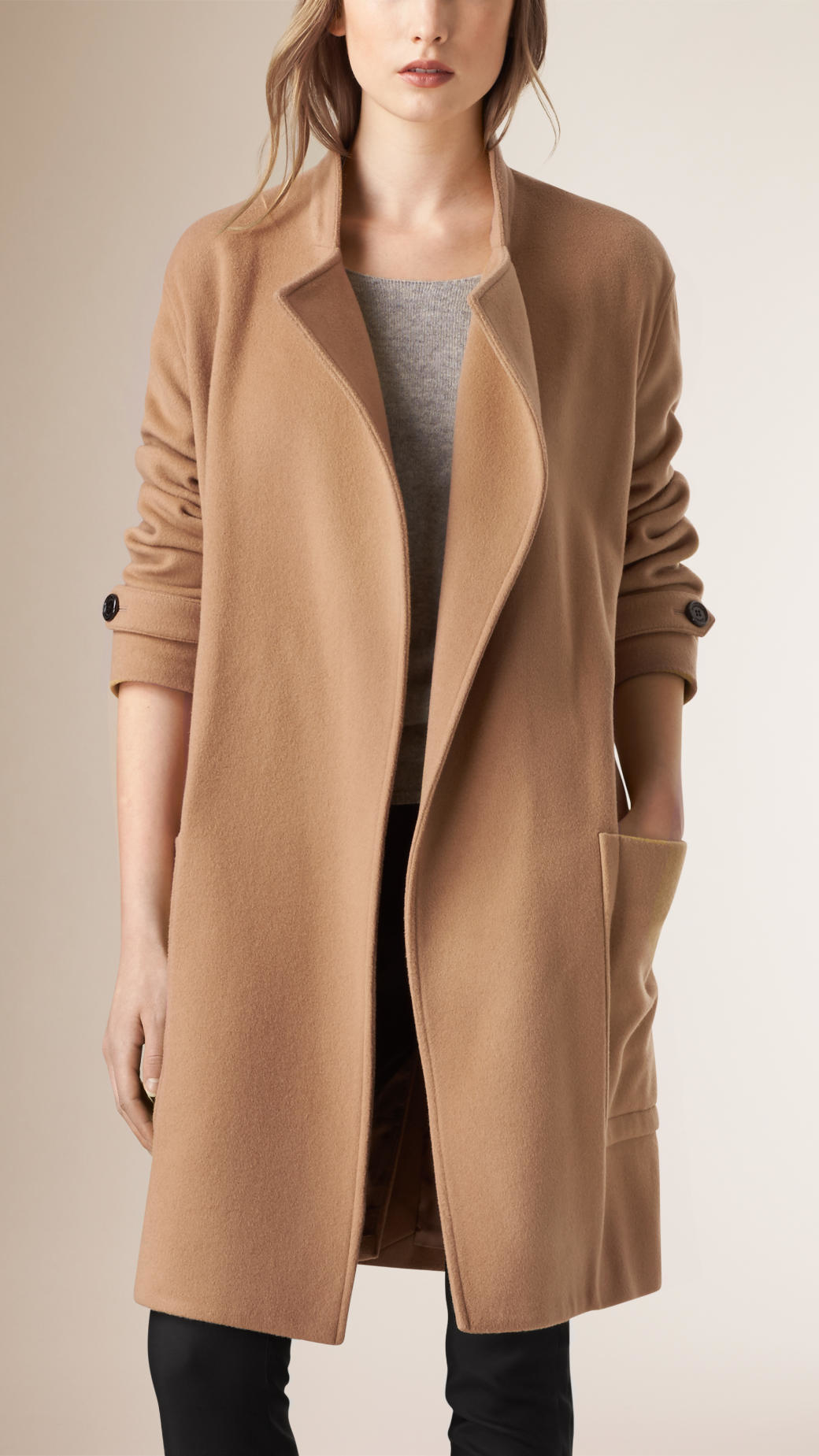 Burberry Relaxed Fit Wool Cashmere Coat In Natural Lyst