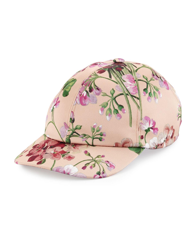 9e0885792e1 Lyst - Gucci Floral Satin Baseball Cap in Pink