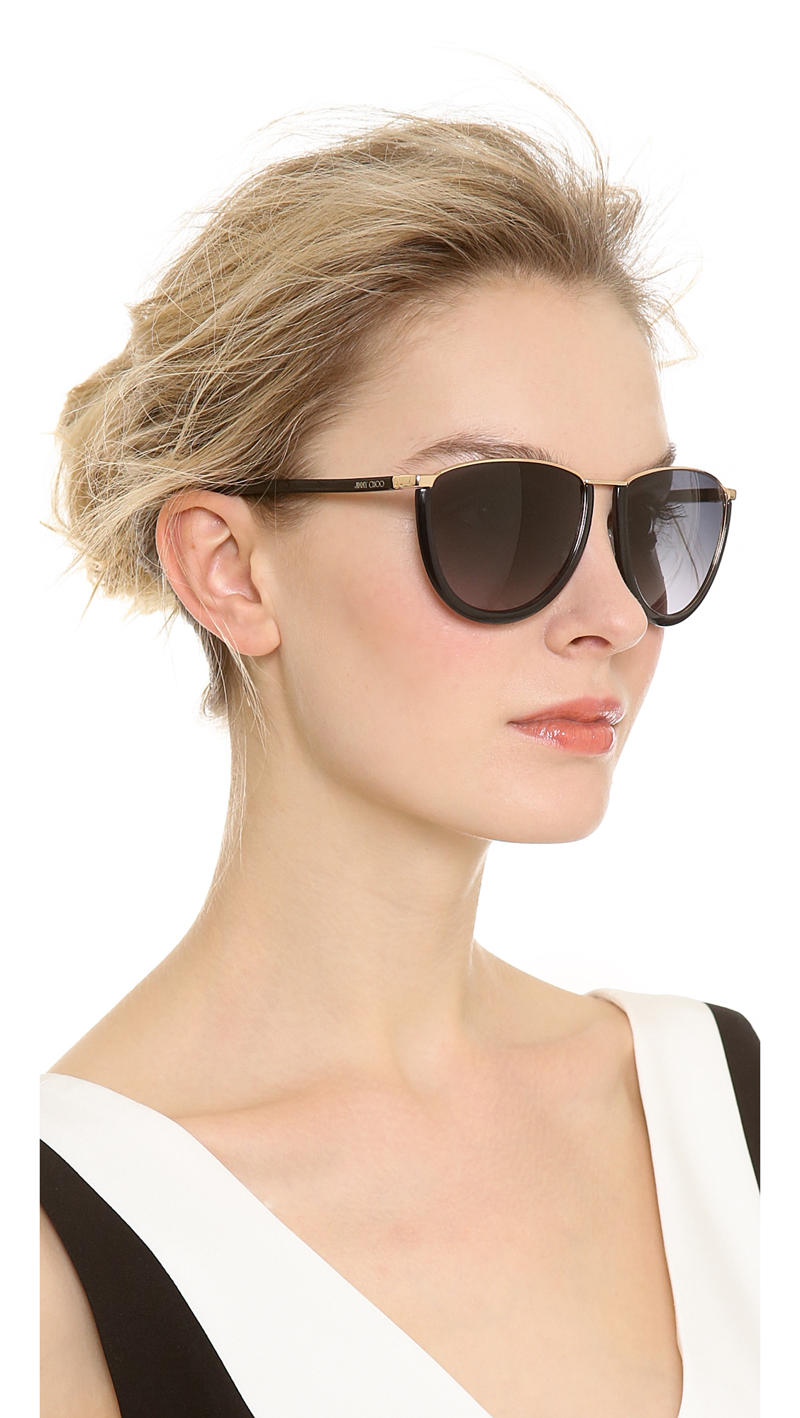 Lyst Jimmy Choo Mila Sunglasses Rose Gold Black Grey
