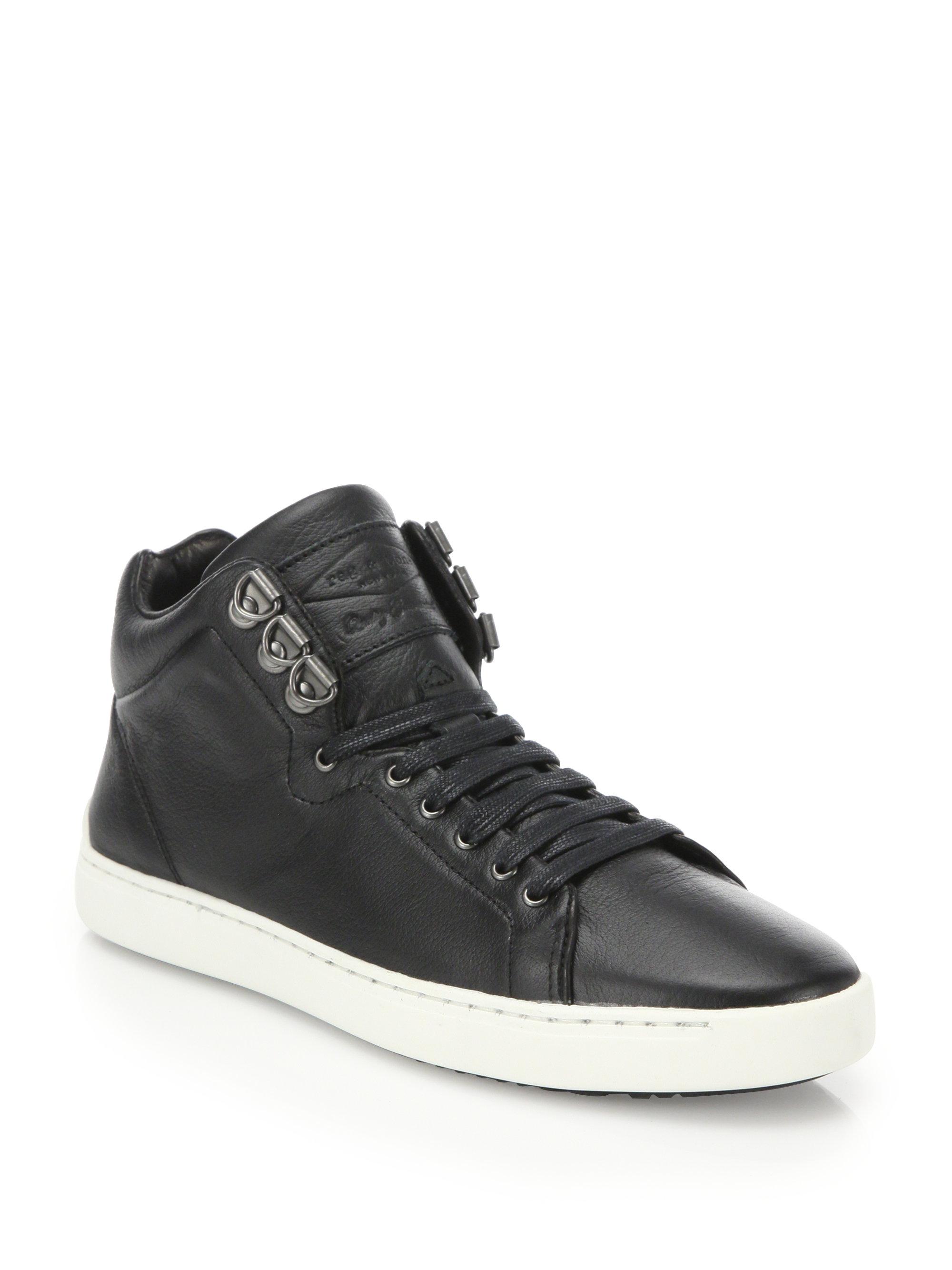 Rag Amp Bone Kent Leather High Top Sneakers In Black For Men