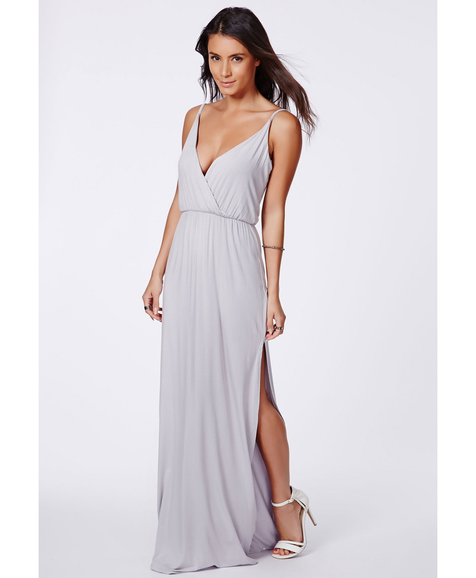 Grey Dress: Missguided Lumie Grey Strappy Wrap Front Maxi Dress In