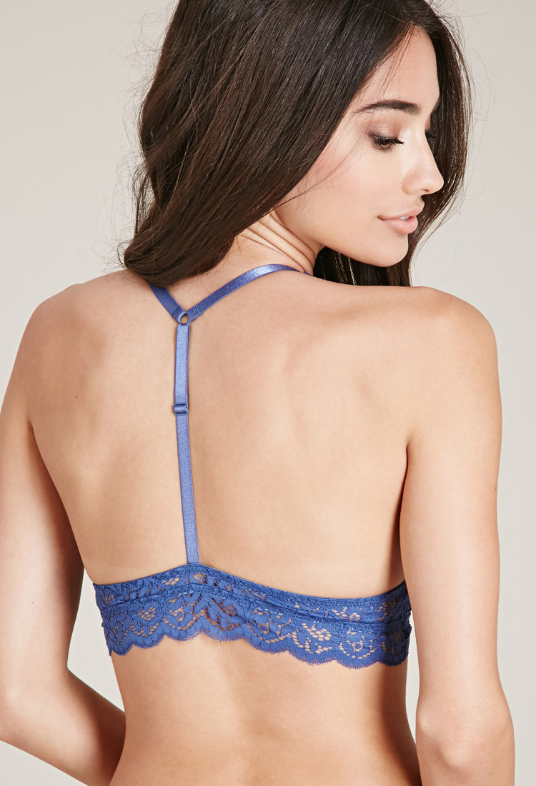1d9323b328 Forever 21 Ornate Lace Halter Bralette in Blue - Lyst