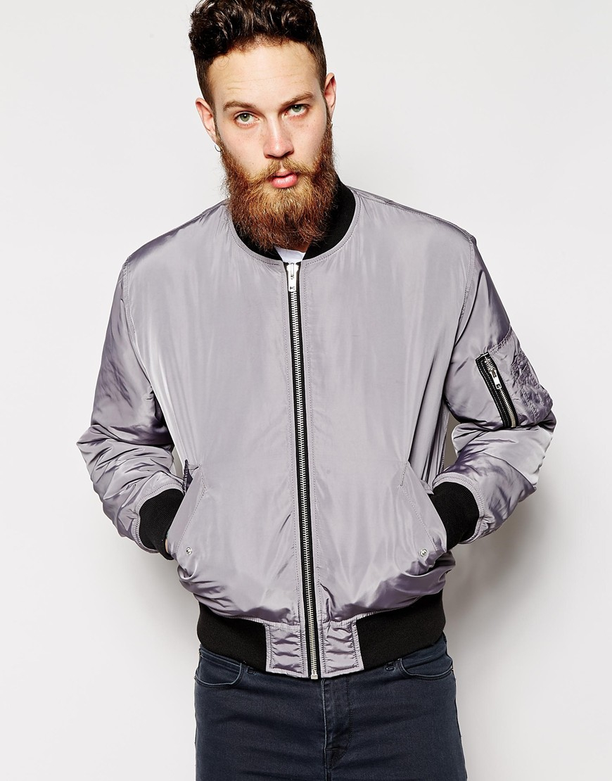 Grey Bomber Jacket Men | Outdoor Jacket