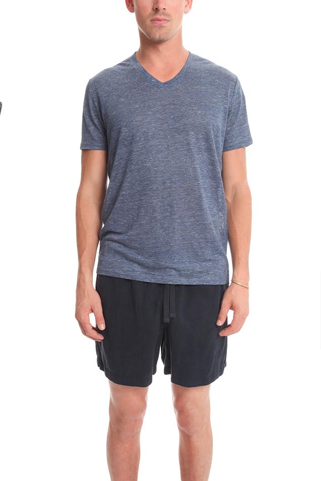 Vince v neck t shirt in blue for men lyst for Vince tee shirts sale