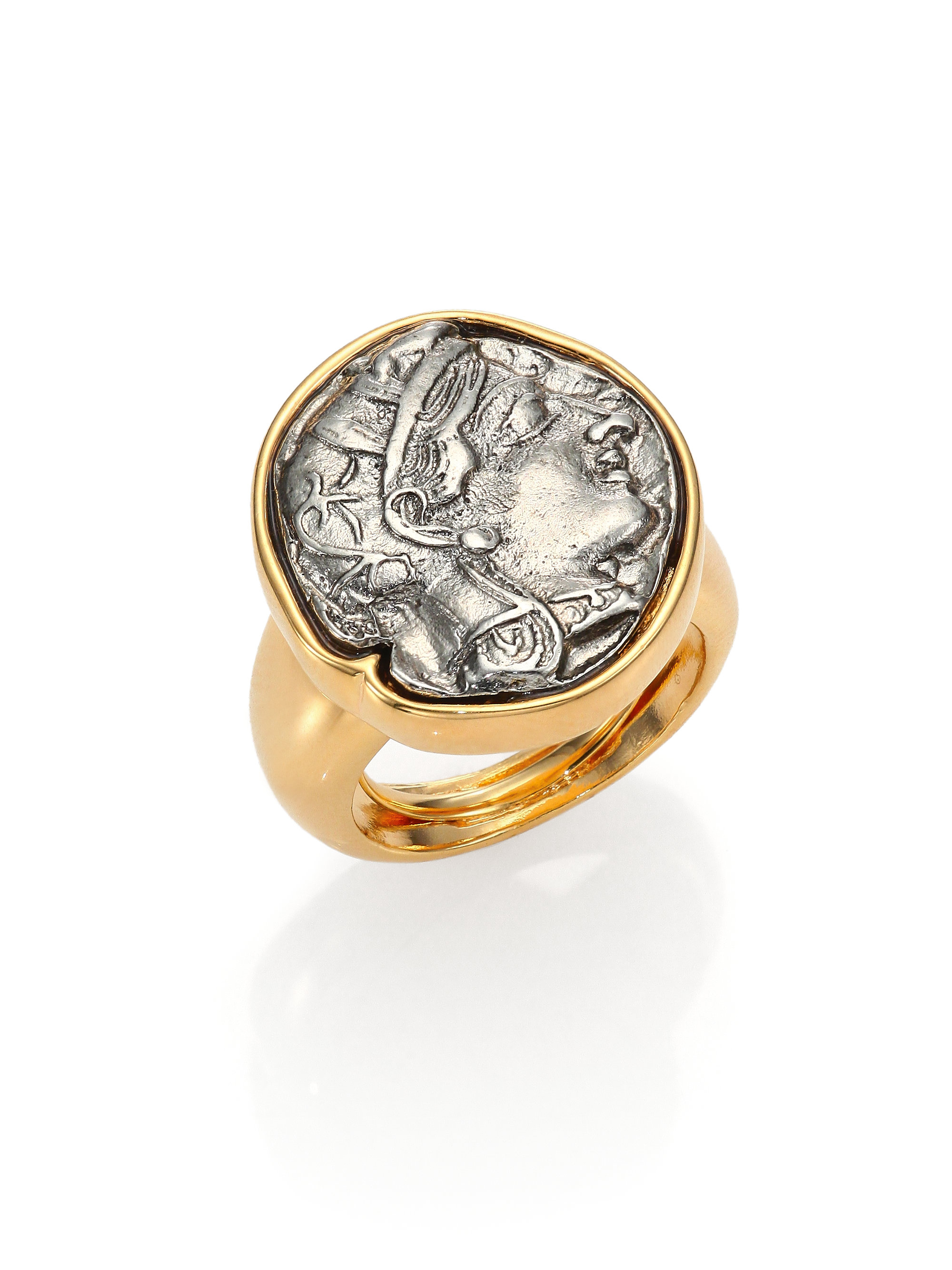 kenneth coin statement ring in gold gold silver