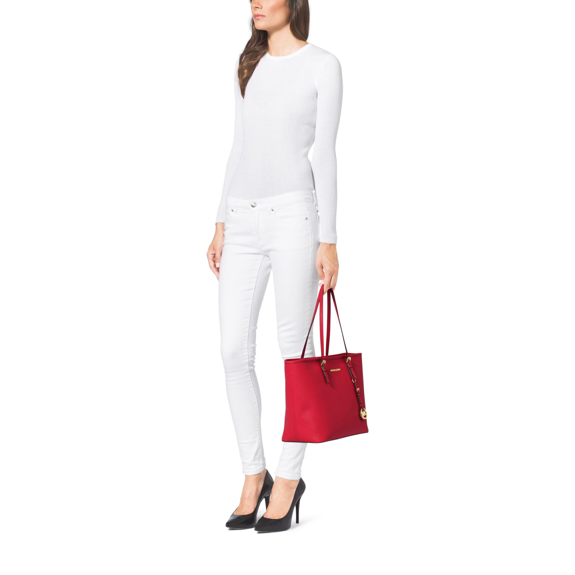 4c3f40f3c982 Lyst - Michael Kors Jet Set Travel Saffiano Leather Top-zip Tote in Red