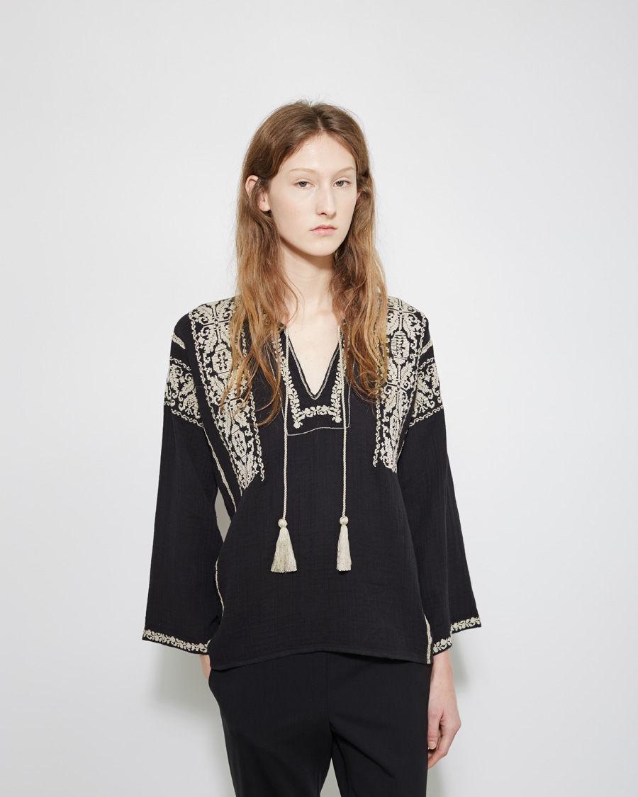 toile isabel marant vince embroidered top in black lyst. Black Bedroom Furniture Sets. Home Design Ideas