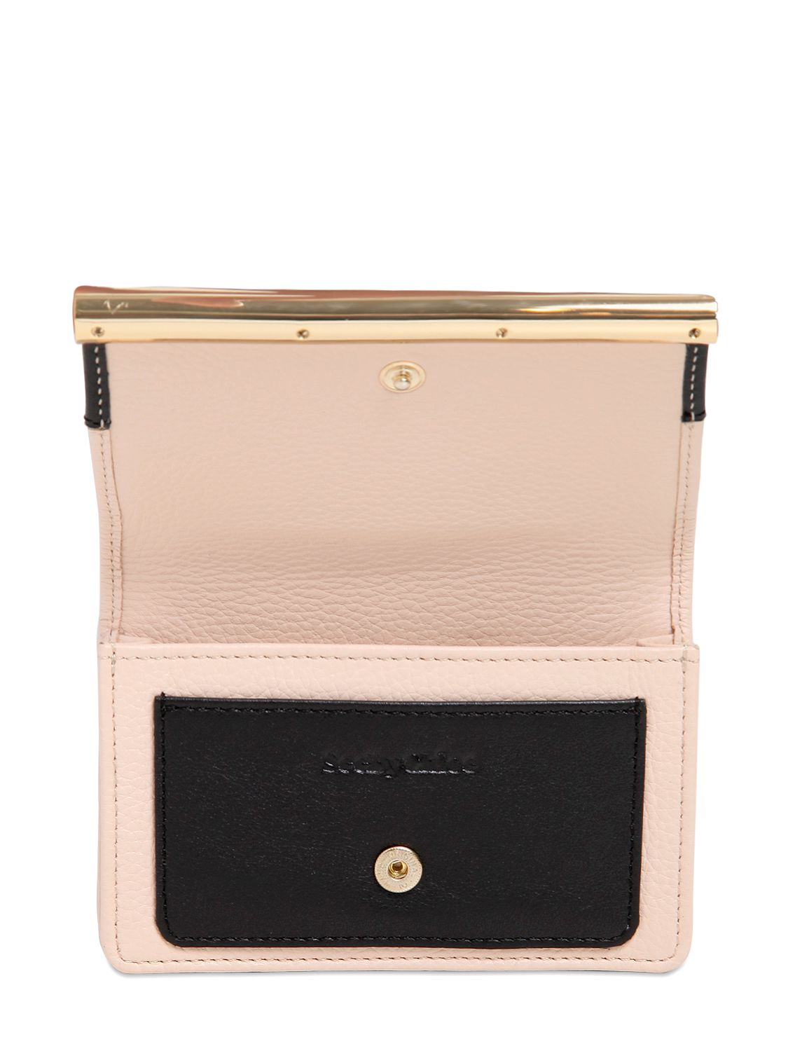 Lyst - See By Chloé Two Tone Leather Business Card Holder in Natural