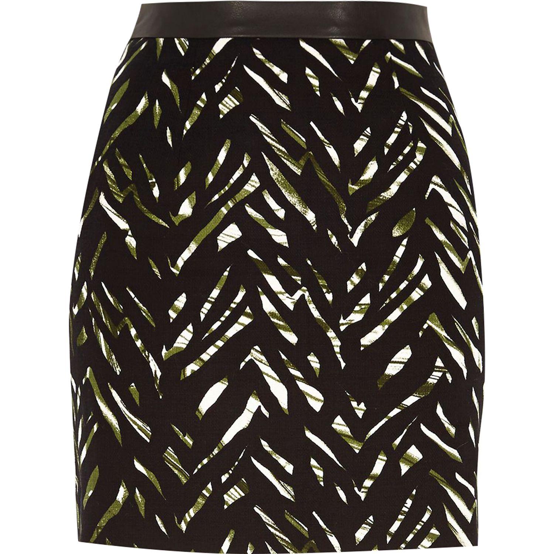 River island Green Zebra Print A-line Mini Skirt in ...