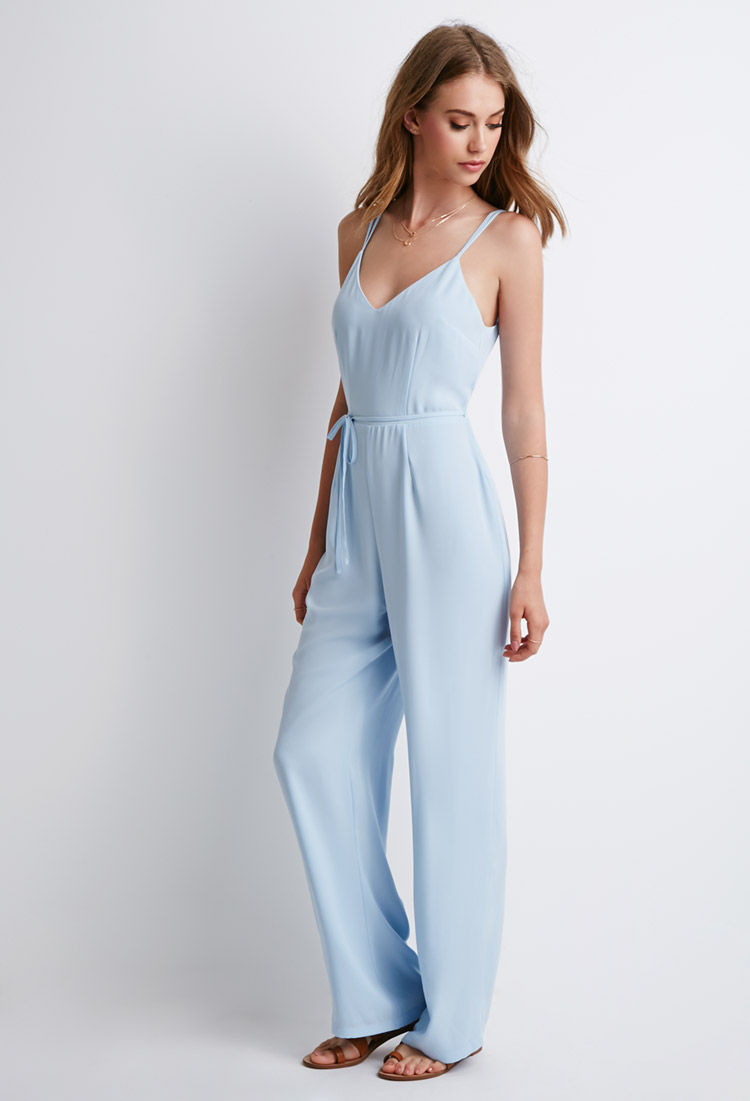 716a1bfca263 Lyst - Forever 21 Strappy V-back Jumpsuit in Blue