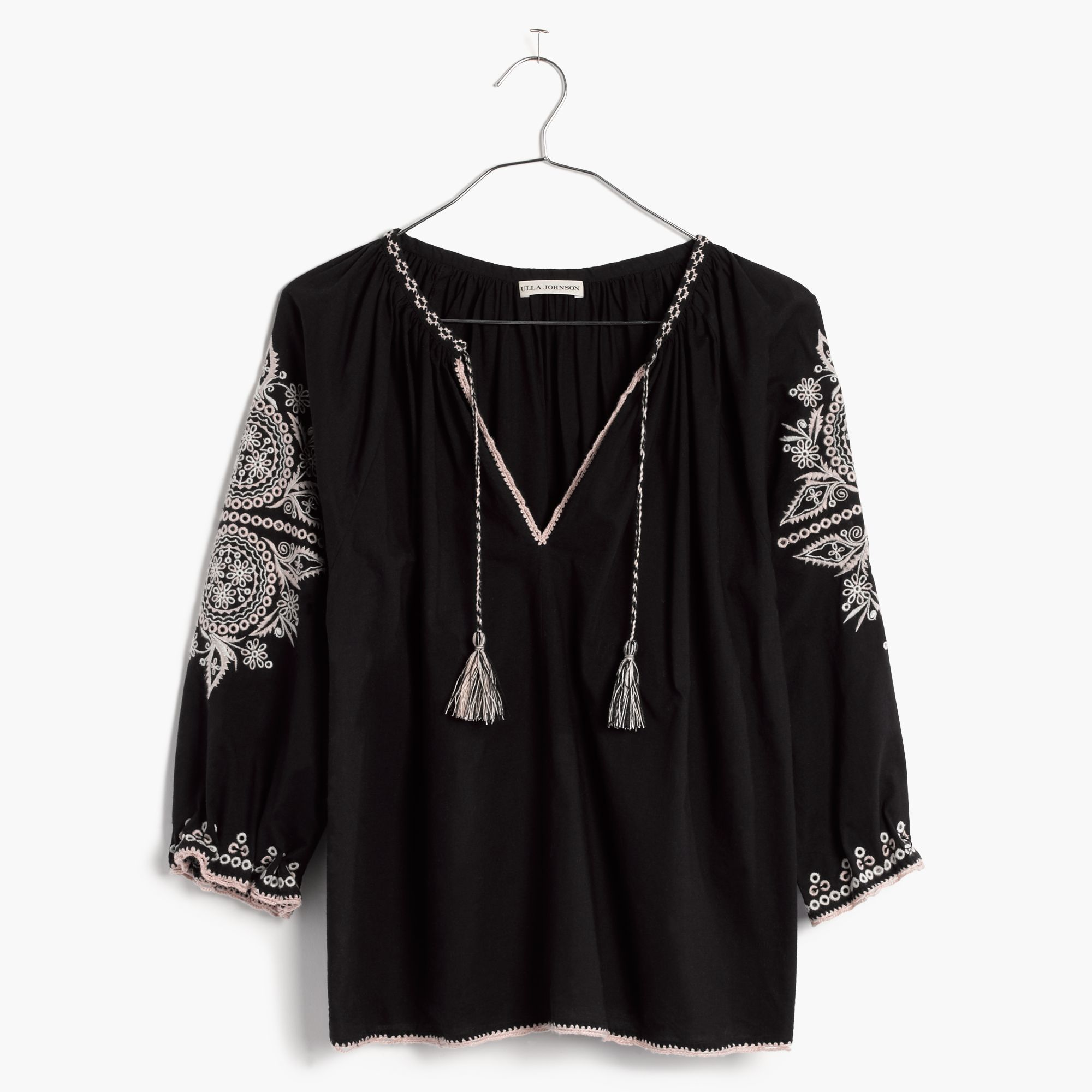 bd59163ab93a Lyst - Madewell Ulla Johnson™ Embroidered Ada Top in Black