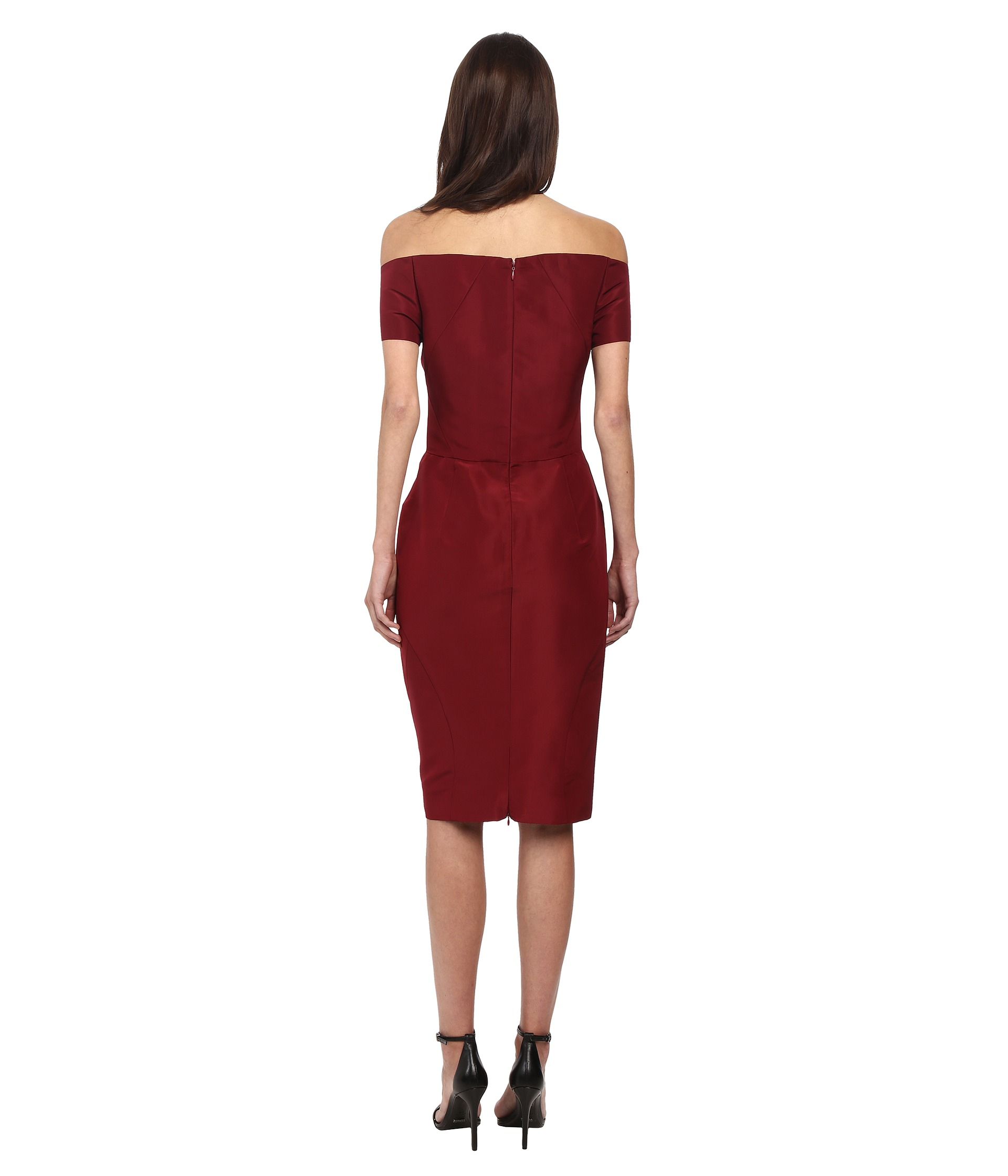 Lyst Zac Posen Off The Shoulder Dress With Front Pleat