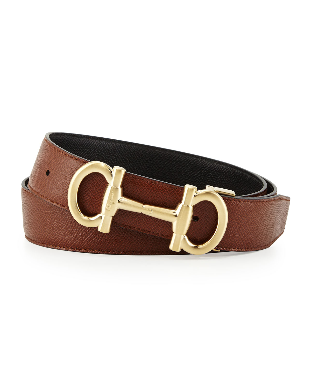 ferragamo parigi reversible leather belt in brown for