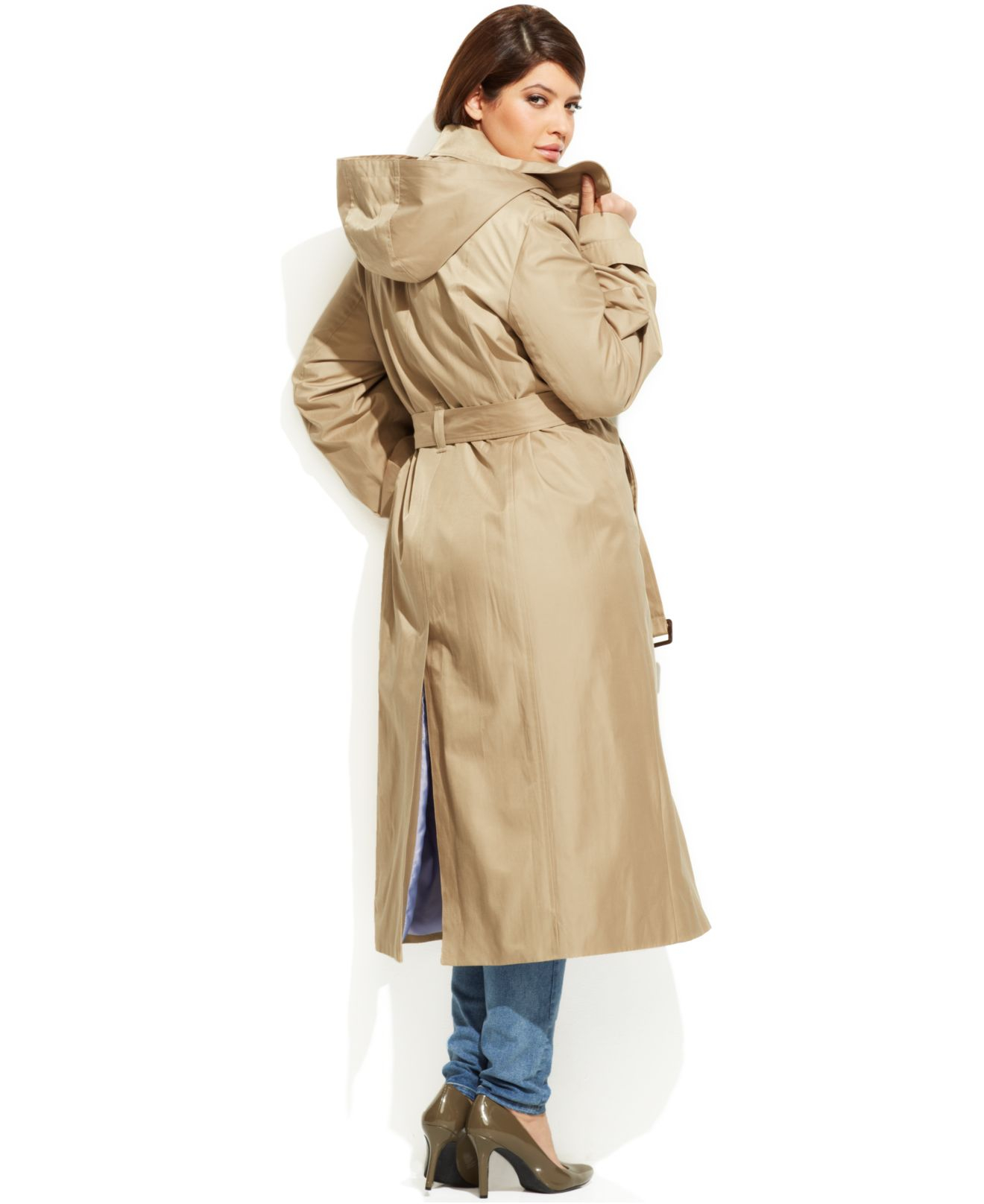 bab3ee9c7fd Lyst - London Fog Plus Size Hooded Belted Maxi Trench Coat in Natural