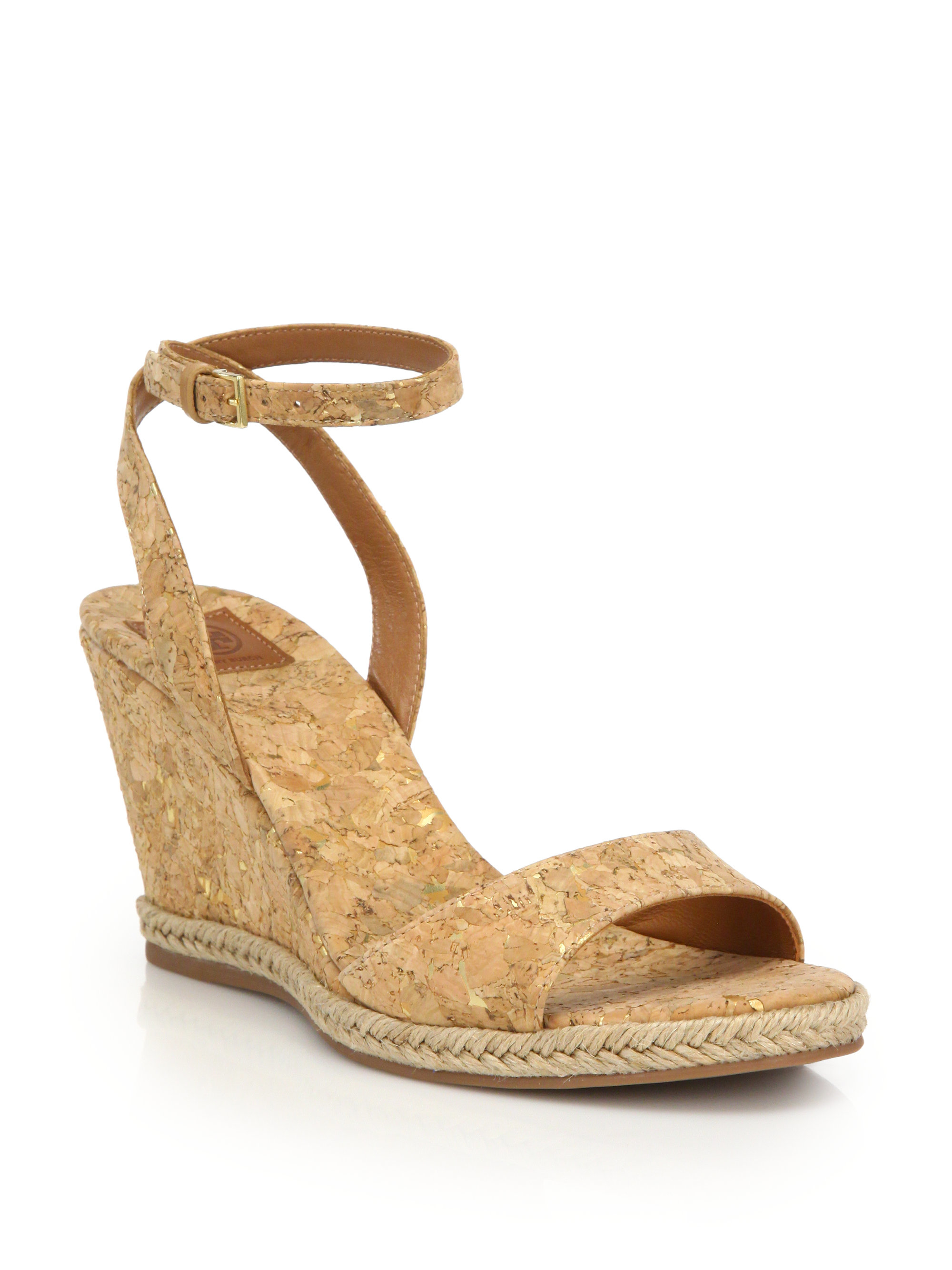 ff7973f60f4afa Lyst - Tory Burch Marion Cork Wedge Sandals in Natural