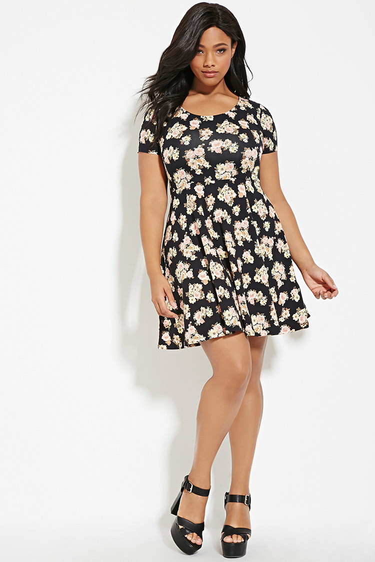 5ba01b4bc1c Forever 21 Plus Size Floral Print Dress in Black - Lyst