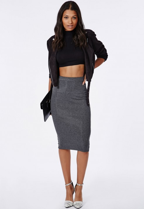 Missguided Ribbed Bodycon Midi Skirt Grey in Gray | Lyst