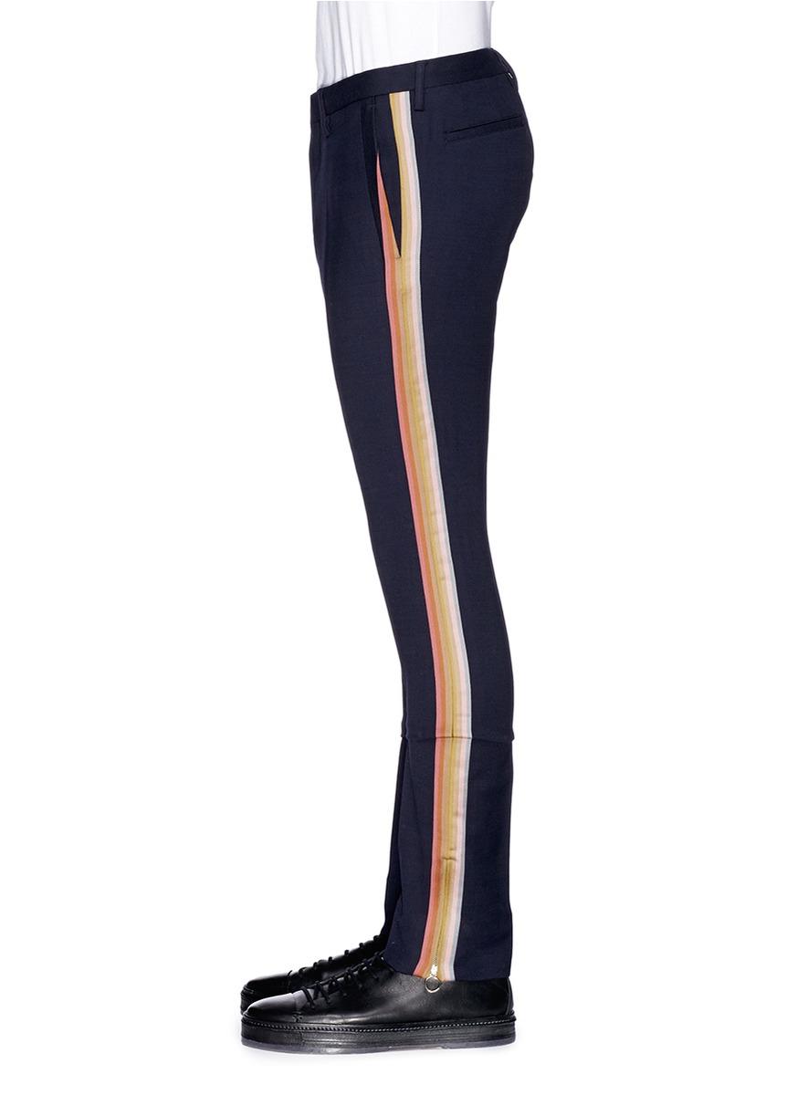 Lyst Paul Smith Side Stripe Wool Pants In Blue For Men