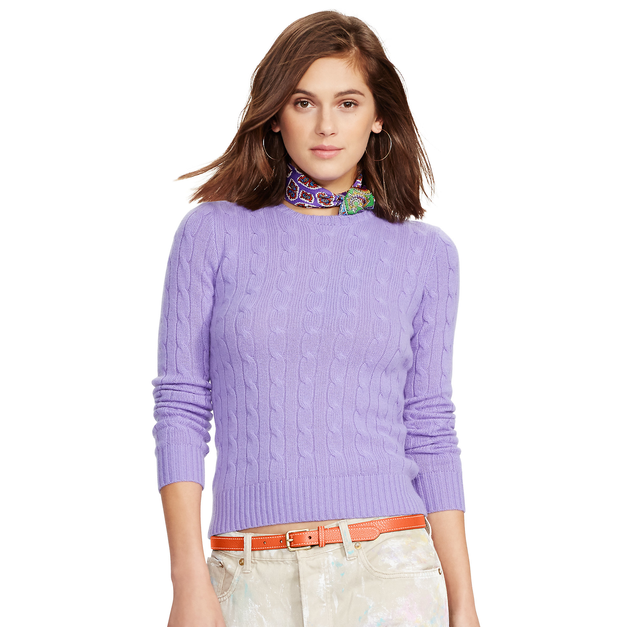 Polo ralph lauren Slim Cable Cashmere Sweater in Purple | Lyst